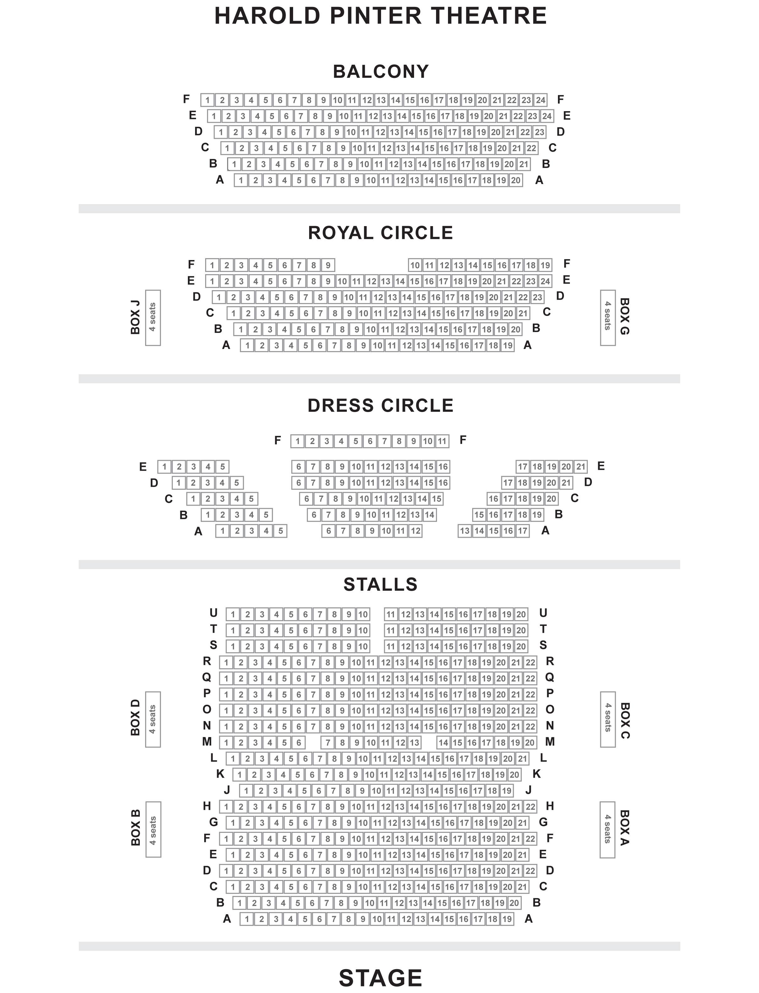 Harold Pinter Theatre seating plan